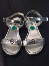 Michael Kors Viridiana Silver Foil Strap Sandals Big Girls Size 4 Women's 6 EUC