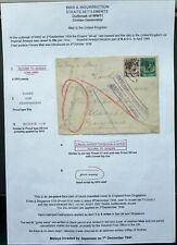 MALAYA 9 DEC 1939 CENSORED COVER FRONT FROM SINGAPORE TO ENGLAND - UNDELIVERED
