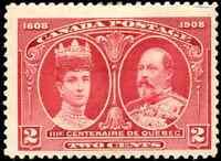 Canada #98 mint F-VF OG HR DG 1908 Quebec Tercentenary 2c KEVII & Q. Alexandra