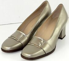 Enzo Angiolini 8 M Pumps Leather Metallic Gold with Silver Buckles Blithe