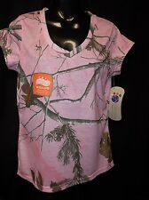 "NWT REALTREE  Pink Ladies Women's ""V"" Neck Wicking T Shirt Top Size MEDIUM"