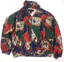 Studio Sportif Mens M Silk Bomber Jacket Vintage 80s Printed Golf Coat