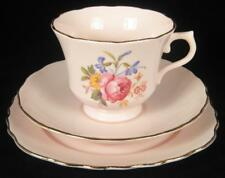 Royal Vale/Pink Vogue Mixed Set Floral Bone China Cup/Saucer/Plate Trio