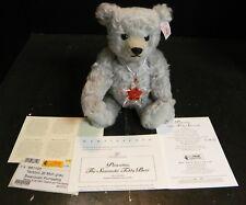 "2007 Steiff 10"" Swarovski Poinsettia Crystal Ornament Teddy Bear 681103 Excell"