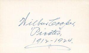 Wilbur Cooper 1912 Pirates (Dec 1973) Signed Autograph 3x5 Index Card JSA COA