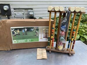 Vintage Kourt King Croquet Set Original Box Yard Games Balls 290