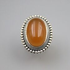 S925 Sterling Silver Yellow Chalcedony Ring Luck Mini Heart Oval Ring 26mmW US7