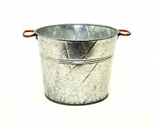 "Galvanized Tin Waste/Trash Can Basket w/Handles, Diamond Pattern-9""H X 11""D."