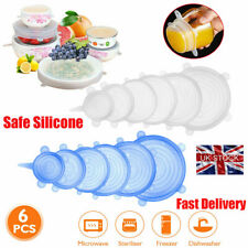 6* Reusable Silicone Stretch Lids Food and Bowl Covers Containers Dishes Bowl UK