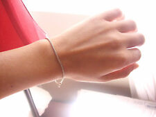 New Womens Bracelet Silver 925 Pure Box Link Chain Classic Stamped 7in X 1mm