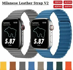 Apple Watch Leather Strap iWatch Leather Band Magnetic Milanese Loop V2 [NEW]