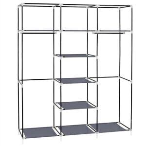 "69"" Portable Closet Non-Woven Fabric Wardrobe Double Rod Storage Organizer Gray"
