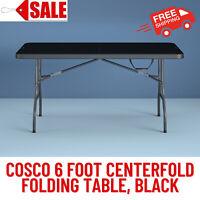 Cosco 6 Foot Centerfold Folding Table, Heavy-Duty Strong Steel Frame-Steel,Black