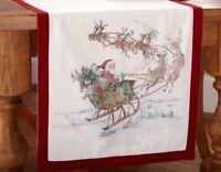 Pottery Barn Nostalgic Santa Table Runner Red 18x108 Christmas Reindeer New
