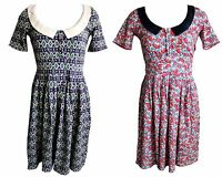 Blutsgeschwister Kleid Like a Prayer Gr. XS S M L XL Retro Muster Kragen V2
