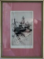 "Vintage engraving harbour with church in background ""Tarbert N.B."" Signed Dho Do"