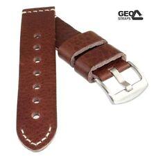 Geo-Straps Rindleder-Uhrband Old Military braun 22 mm softweiches Lederuhrband