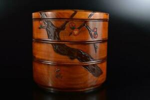 L843: Japanese Wooden Lacquer ware Flower sculpture FOOD BOXES Jubako Lunch Box