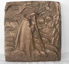 """Bronzerelief Bronze """"Der gute Hirte"""" -große Ausführung- Joseph Krautwald, Plaque"""