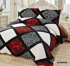 3-Pcs California King Quilted Reversible VELVET Bedspread Coverlet Set - BARBARA