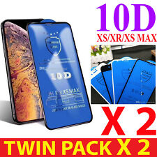 2 X Gorilla 10D Tempered Glass Screen Protector For Apple iPhone XS-MAX,XR,XS,8