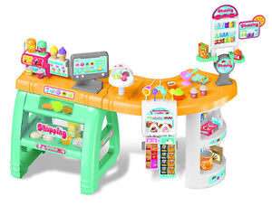 Supermarket and Candy Shop Kids Market Stall Toy Shop with Scanner Play Food