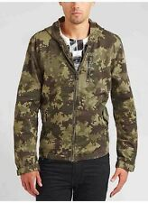Guess Digital Camouflage Safari Jacket With Hoodie Zipper Pockets Size S