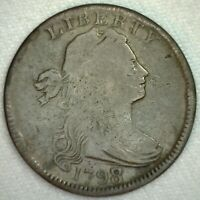 1798/7 US Large Draped Bust One Cent Copper Coin Wide Over Date Very Good