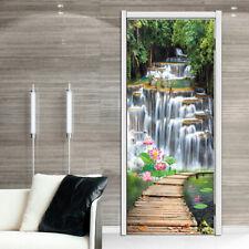 3D Waterfall Wood Bridge View Self-Adhesive Door Murals Wall Sticker Home Decal