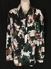 Ava & Viv Women's Sz X Long Sleeve 1/4 Button Down Shirt semi Sheer multi Color