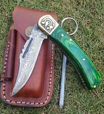 Pocket Folding Knife Camping Hunting Fishing Stainless Steel leather pouch