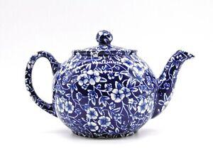 Rare Vintage Heron Cross Pottery Blue Teapot Blue Flower Transfer Print (AP159G)