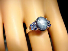 BLUE STAR SAPPHIRE 3.28 CTS w/ .40 TCW BLUE SAPPHIRES 925 STERLING SILVER RING
