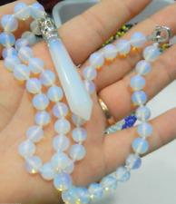 Hexagonal 8mm Gemstone Healing Chakra Reiki Opal Stone Pendant Necklace 18'' AAA