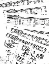 1973 1974 1975 1976 1977 1978 1979 CORVETTE BODY PARTS LIST CRASH SHEETS **