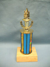 torch wreath blue column trophy award wood base