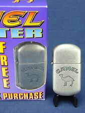 VINTAGE 1997 Joe CAMEL Brushed Metal, Refillable, Cigarette LIGHTER. MINT in BOX