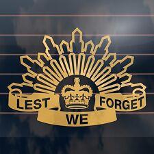 LEST WE FORGET ANZAC Aussie Car Sticker 235mm GOLD