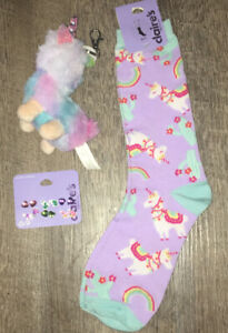 Rainbow Llama Unicorn Knee Socks Backpack Clip Keychain Earings Jewelry Lot