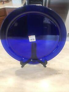 """14"""" Bormioli Rocco Rondo Sapphire Blue Glass Luncheon-Dessert Service Platter"""