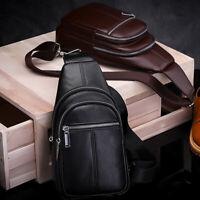 Sling Backpack Men's Genuine Leather Crossbody Chest Bag Sling Shoulder Bag