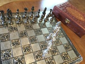 """Solid brass chess set, 14"""" board"""