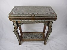 "24"" Syrian Mosaic Hand Made Games Table chess table & backgammon & poker set"