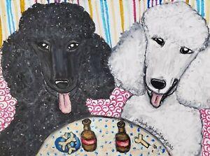 Black White POODLE at the Pub Dog Art Print 4 x 6 | Collectible Artist KSams