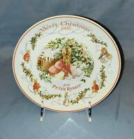 """Wedgwood Beatrix Potter MERRY CHRISTMAS from Peter Rabbit 8"""" PLATE 1995"""