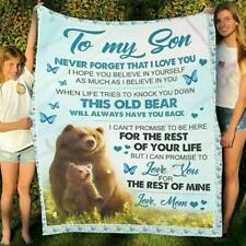 Bear to my son never forget that I love you love mom family love fleece blanket