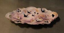 Antique R.S. Prussia Porcelain Pickle Dish w Art Nouveau Flowers & Swallow Birds