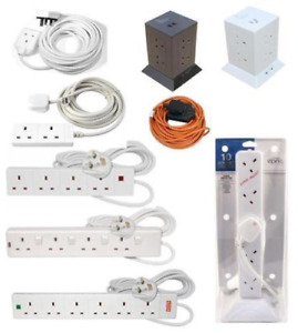 SURGE PROTECTED EXTENSION LEAD UK PLUG TOWER ADAPTER CABLE MULTI SOCKET LIGHT