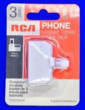 RCA MODULAR TRIPLEX 2 LINE JACK TP203WHR *NEW*