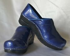 Sanita Pearl Metallic Blue Patent Leather Professional Clogs Sz EU 36 / US 5.5-6